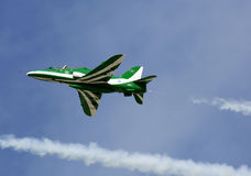 Flying display and aerobatic show of Saudi Hawks display team Royalty Free Stock Image