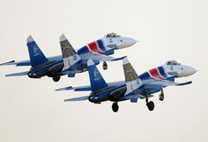 Flying display of Russian Knights Sukhoi Su-27s in Bahrain International Airshow Stock Images