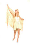 Flying diva. Pretty romantic blond model daydreaming Stock Photo