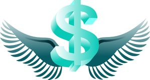 Flying dollar Stock Photography