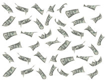 Flying dollar. Over white background, business concept Stock Photography