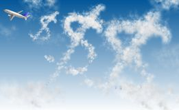 Flying dollar. Clouds in a shape of dollar symbol and an airplane Stock Photography