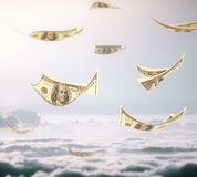 Flying dollar banknotes Stock Photo