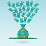 Flying dollar banknotes in a money bag, green grass. Royalty Free Stock Image