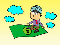 Flying dollar bill. A business man with a turban is riding a flying dollar bill Stock Images