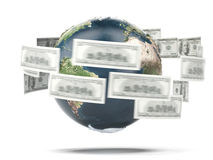 Flying dollar bills around world Stock Images