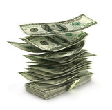 Flying dollar bills in stack, Royalty Free Stock Photography