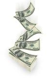 Flying dollar. Bills on white background stock illustration