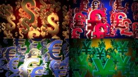 Flying Dollar, Euro, Yen and Pound Symbols. Royalty Free Stock Photos