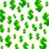 Flying dollar symbols on the gray background. Stock Photography