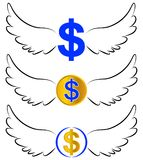 Flying dollar symbols in wings Stock Image