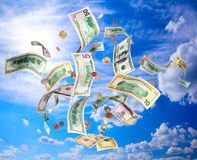 Flying dollars Royalty Free Stock Photos