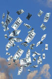 Flying dollars. 3d illustration of flying 100 dollars banknote on blue sky background vector illustration