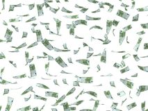 Flying dollars. 3d flying dollars with white background Royalty Free Stock Photo