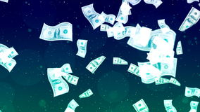Flying Dollars. Abstract Loopable Background. HD Loopable Abstract Background with nice flying dollars for club visuals, LED installations, broadcasting stock video