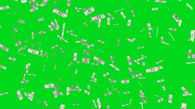 Flying dollars banknotes in the air on green background in financial money investment concept. 3d illustration royalty free illustration