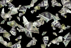 Flying dollars isolated Royalty Free Stock Photo