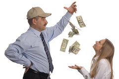 Flying dollars Stock Photography