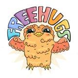 Flying doodle owl. Free hugs fluffy bird. Royalty Free Stock Photography