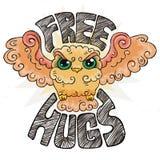 Flying doodle owl. Free hugs fluffy bird. Royalty Free Stock Photo