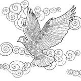Flying dove in zentangle style. Royalty Free Stock Image