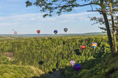 Flying Down The Gorge At Letchworth State Park. Hot Air Balloons Flying Down The Gorge At Letchworth State Park In New York Stock Photo