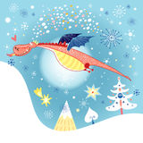 Flying dragon. Hilarious magic dragon in the sky with the moon and snowflakes Royalty Free Stock Photo