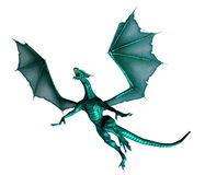 Flying dragon. 3d illustration of  Mythological green dragon in flight isolated on white background. Clipping path supplied Royalty Free Stock Images