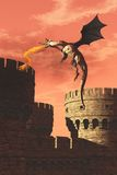 Flying dragon attacking castle Royalty Free Stock Images
