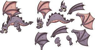 Flying cartoon dragon with different parts. Ready for animation clip art. Vector illustration with simple gradients. Some elements on separate layers royalty free illustration