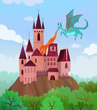 Flying Dragon Castle Composition. Fairy dragons composition with flat cartoon style images of flying fire-breathing dragon and castle landscape vector Stock Photos