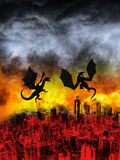 Flying Dragon City Ruins Apocalypse. An evil flying dragon flies over a modern city left in ruins. A science fiction fantasy scene of the apocalypse with a Stock Photography