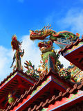 Flying dragon figure. On the roof of temple in Taiwan Royalty Free Stock Photography