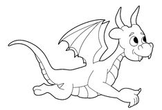 Flying dragon line-art Royalty Free Stock Photography