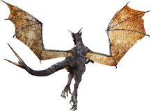 Flying Dragon, Rear View, Isolated Stock Image