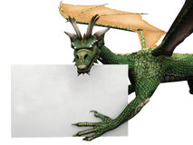 Flying dragon with sign. A green flying dragon holding a blank sign Royalty Free Stock Images