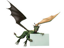 Flying dragon with sign. A green flying dragon holding a blank sign Royalty Free Stock Photos