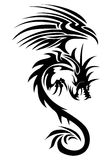 Flying dragon tattoo Stock Images
