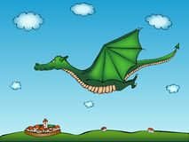 Flying dragon with village background Stock Photo