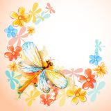 Flying Dragonflies with Flowers Royalty Free Stock Photos