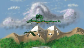 Flying dragons Stock Images