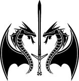 Flying dragons and sword Royalty Free Stock Image