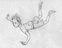 Flying in a dream. Little kid - girl or boy - is flying in a dream. Hand drawn pencil sketch Royalty Free Stock Images