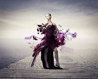 Flying dress Royalty Free Stock Image
