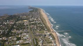 Aerial view of city Avon toward to Rodanthe. 4k. Flying with drone above Avon toward to Rodanthe Between ocean and sound stock footage