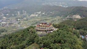 Nepal, Kathmandu. Kopan monastery. Aerial footage. Flying with drone above Kopan monastery in Kathmandu Nepal stock footage