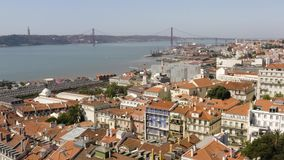 Aerial view of lisbon river and bridge in portugal