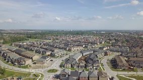 Aerial view of the residential area of the city 4k. Flying with drone above residential area of Toronto stock video footage