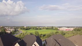 Aerial view of the residential area of the city 4k. Flying with drone above residential area of Toronto stock footage