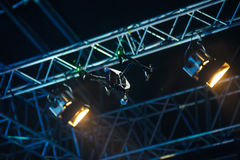 Flying drone above the stage royalty free stock images